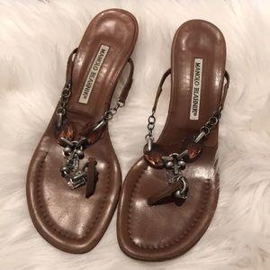 Manolo Blahnik Brown Leather Chandelier Sandals